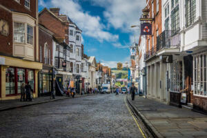 shoppers in guildford high street