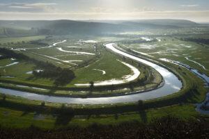 cuckmere river in the south downs national park, east sussex