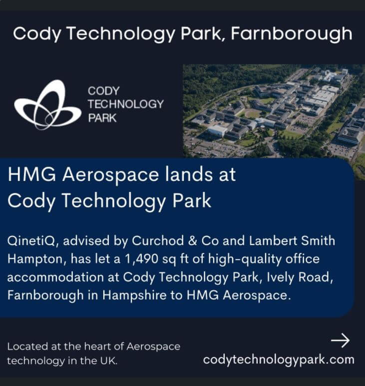 Qinetiq secures office letting at Cody Technology Park in Farnborough